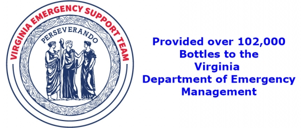 The consortium recently delivered over 120,000 bottles to the Virginia Department of Emergency Management in less than 2 weeks!
